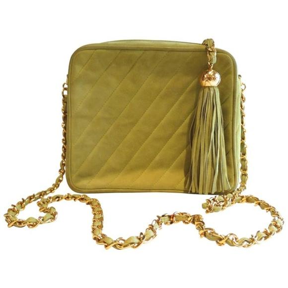 c45d9f8c6aa8bc CHANEL Bags | 80s Vintage Suede Green Tassel Camera Bag | Poshmark